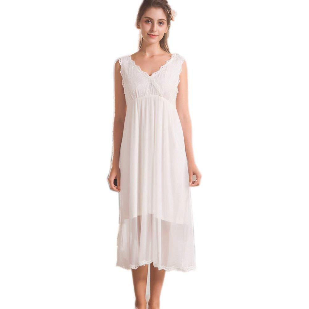 ff90f85790 Get Quotations · Singingqueen Womens  White Cotton Nightgown Sleeveless  Nightdress Sleepshirt Sundress Pajamas Loungewear