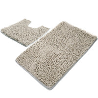 Chenille light grey non slip bathroom rug set