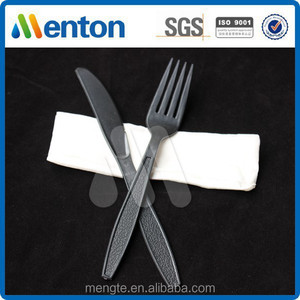 high quality black travel cutlery set with napkin