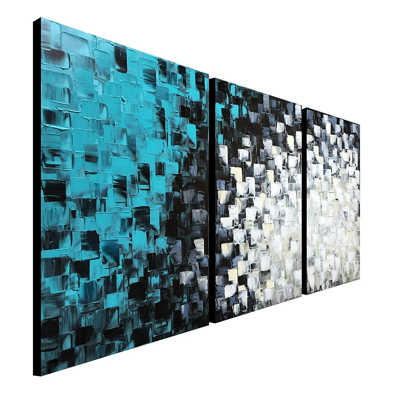 """Large Hand Painted Teal Abstract Canvas Wall Art Turquoise Modern Oil Painting Handmade Huge Artwork (72"""" W x 36"""" H)"""