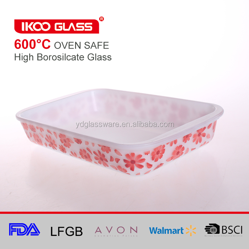 Mod Glass Retro Glass Bakeware for food baking pan with nonstick and decal