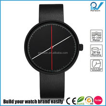 Newest Germany design PVD black stainless steel case double genuine leather strap sapphire glass bauhaus watch style