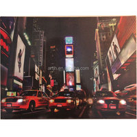High quality Night City view and cars light up canvas wall art with white LEDs