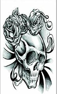 d102b775848dd Get Quotations · Wonbeauty best and temporary tattoos Black and white skull  with roses long lasting and realistic temporary