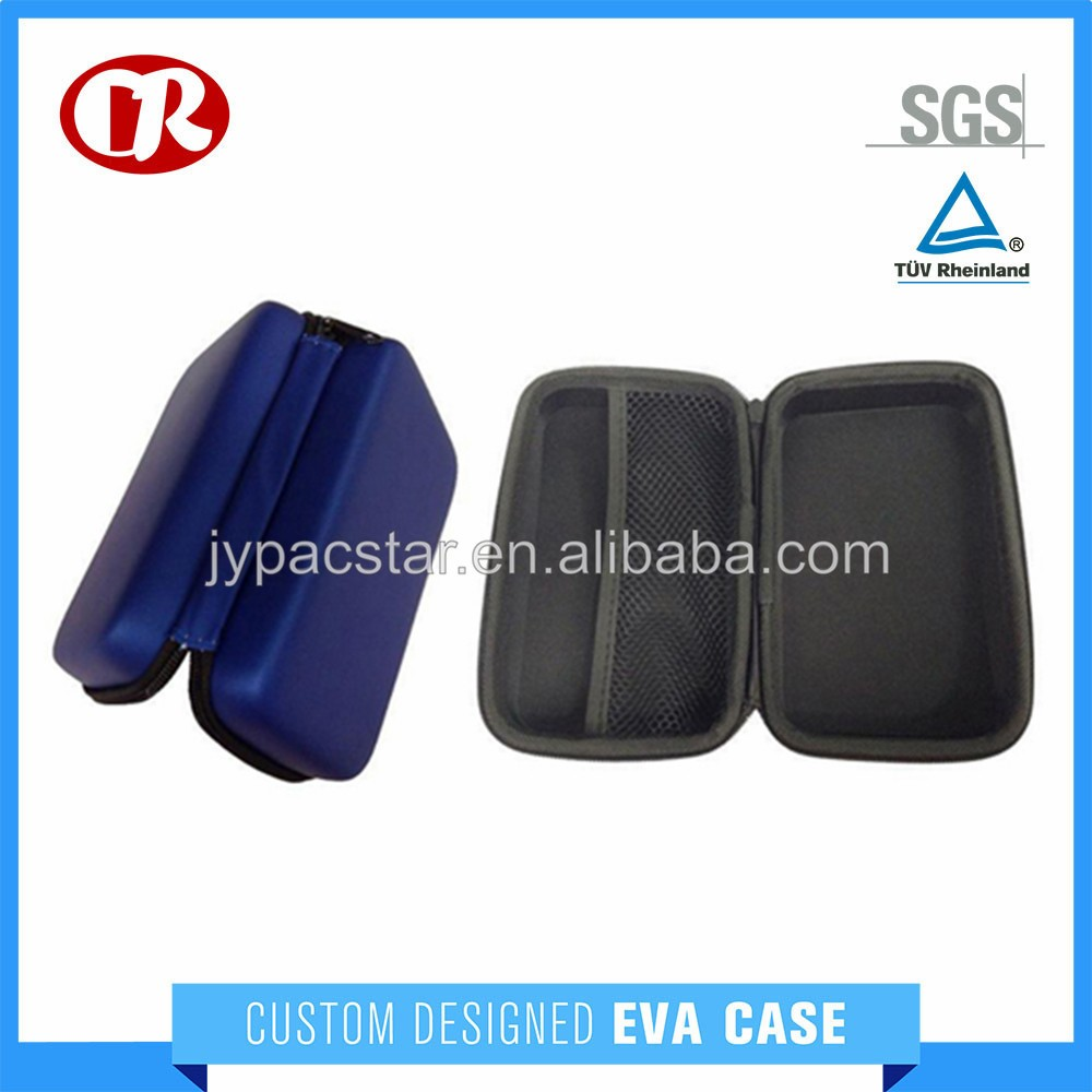 Wholesales rectangle shape blue color PU hard shell portable HDD case