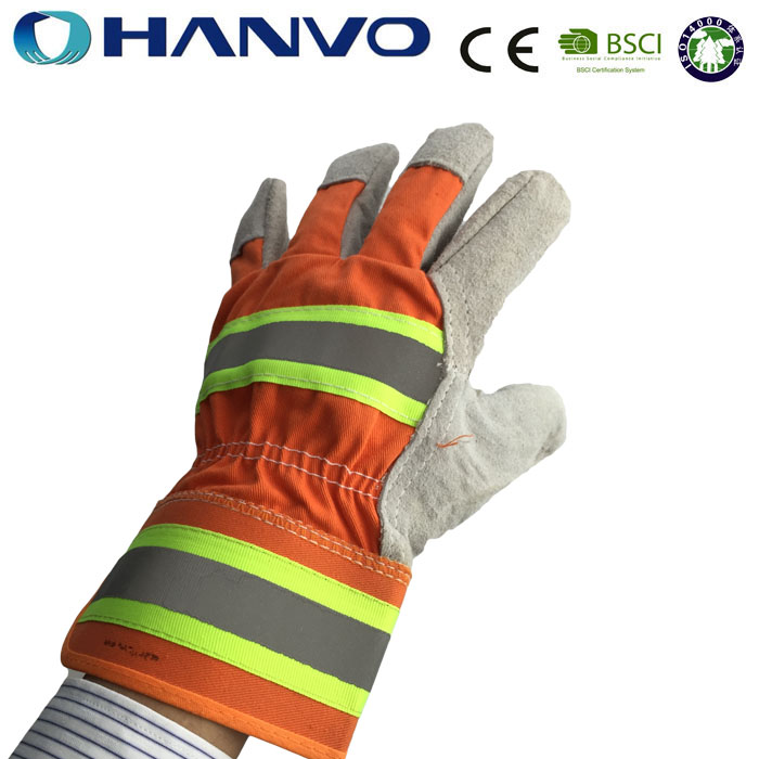 HANVO Cheap Hi-Viz Leather Working Gloves