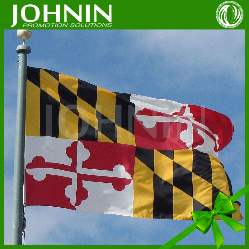 China made fast delivery 75Dpolyester 3x5ft outdoor US maryland state flying flag