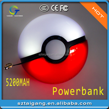 2017 New Arrival 10000mAh Pokemon Ball power bank with UL CE Rohs certification