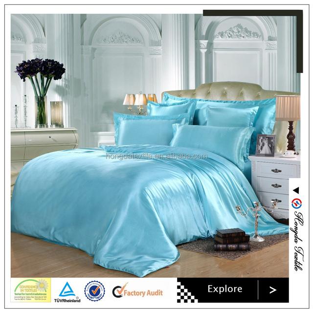 Luxurious Seamless Soild Color 100% Pure Silk Fabric Bedding Set / Silk Bed  Linen Sheets