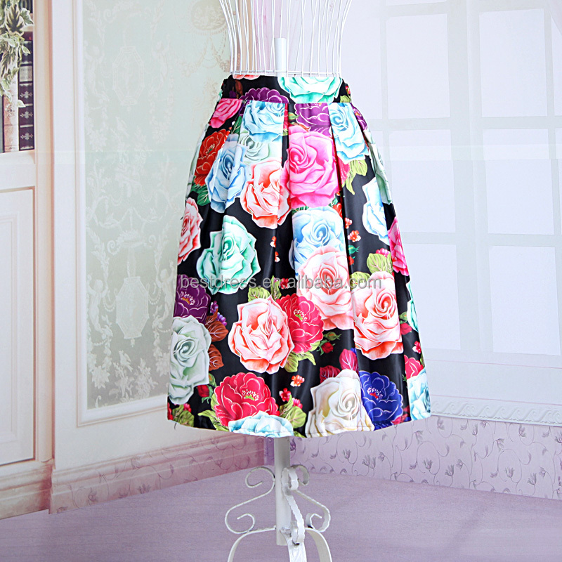 latest spring customized floral pattern printed ladies long silk skirt