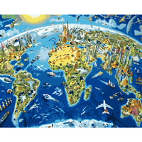 new design Half the Earth city landscape oil painting coloring by numbers wholesale
