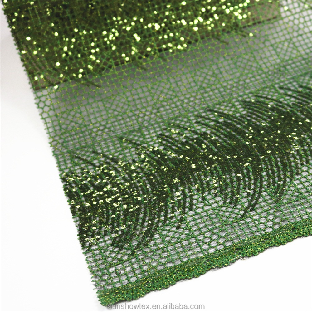 embroidery apple green crystal sequins paillette fabric for wedding dress