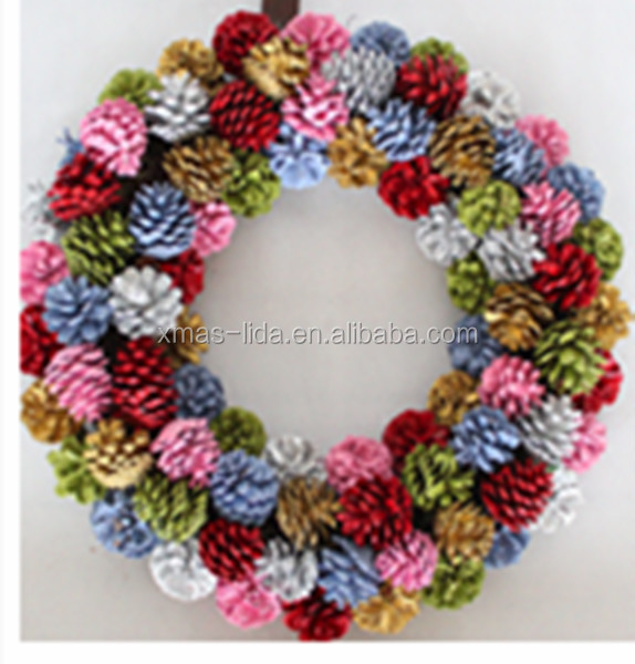 Personalized christmas wreaths natural pine cone christmas wreaths