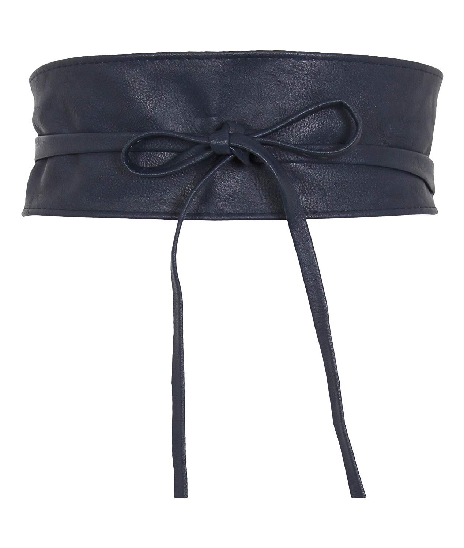 5bca487eb7b Get Quotations · Women s Soft PU Faux Leather Self Tie Wrap Around Obi Waist  Band Cinch Boho Belt