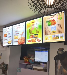 led advertising hanging restaurant light box menu board