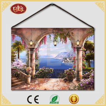 Landscape Spring 100% Non-woven Dye Sublimation Polyester LED Canvas