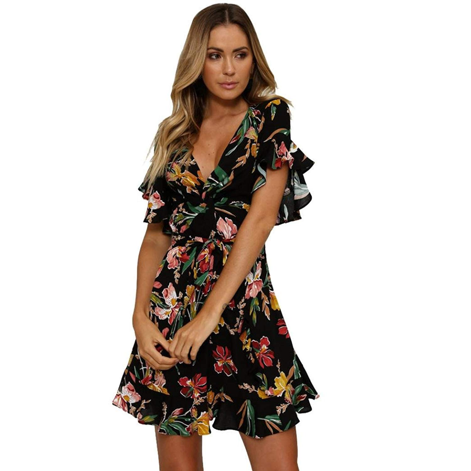 b23f77d1cd Get Quotations · CCSDR Women Short Sleeve Dress,2018 Summer Ladies Floral  Midi Dress Party Maxi Dress Sexy