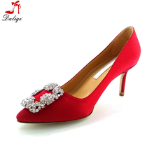 Diamond crystal red party elegant high heel leather lady women dress shoes for women