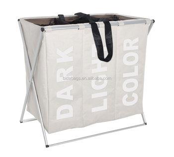 Folding Laundry Washing Basket Separator Bag 3 Section Foldable Fabric Hamper Sorter 130 L Capacity