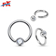 Bezel Set Ball Closure Rings with Crystal Surgical Steel Jewelry in China