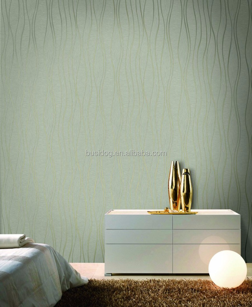 Embossed PVC Strip wallpaper with free sample from China vinyl wallpaper