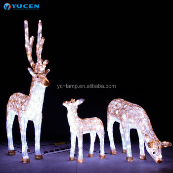 outdoor large acrylic reindeer modelling lamp 3d christmas reindeer motif decorations lights