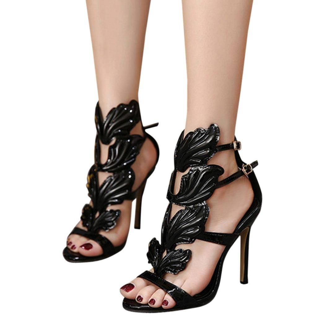 adf6fa68ab4a Fashion Women Pumps Leaf Flame High Thin Heel Shoes Sexy Peep Toe