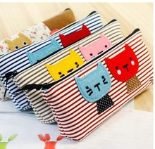 Ak021 new fashin  stripe Pencil case  Zipper Pencil Bags kitten writing case
