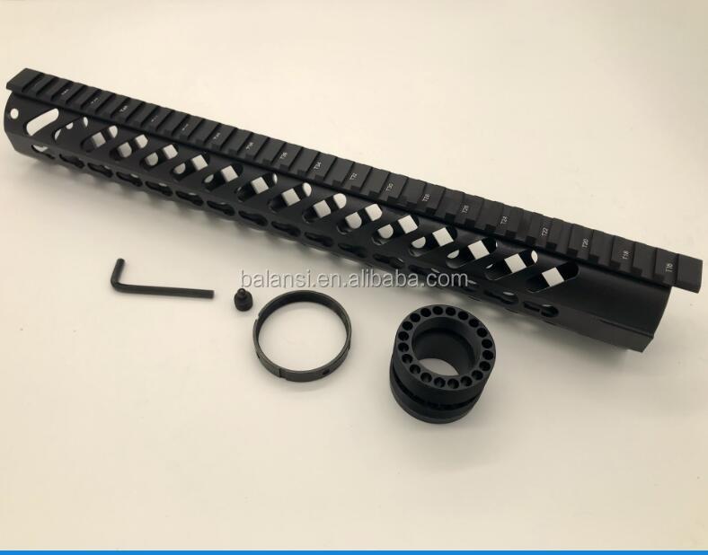 Keymod Free Float Rifle Style ar 15 Handguard for m4 m16 ar15 scar 15 inch, Black