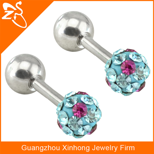 Sexy stainless steel ear stud with light blue crystals wholesale stud earrings
