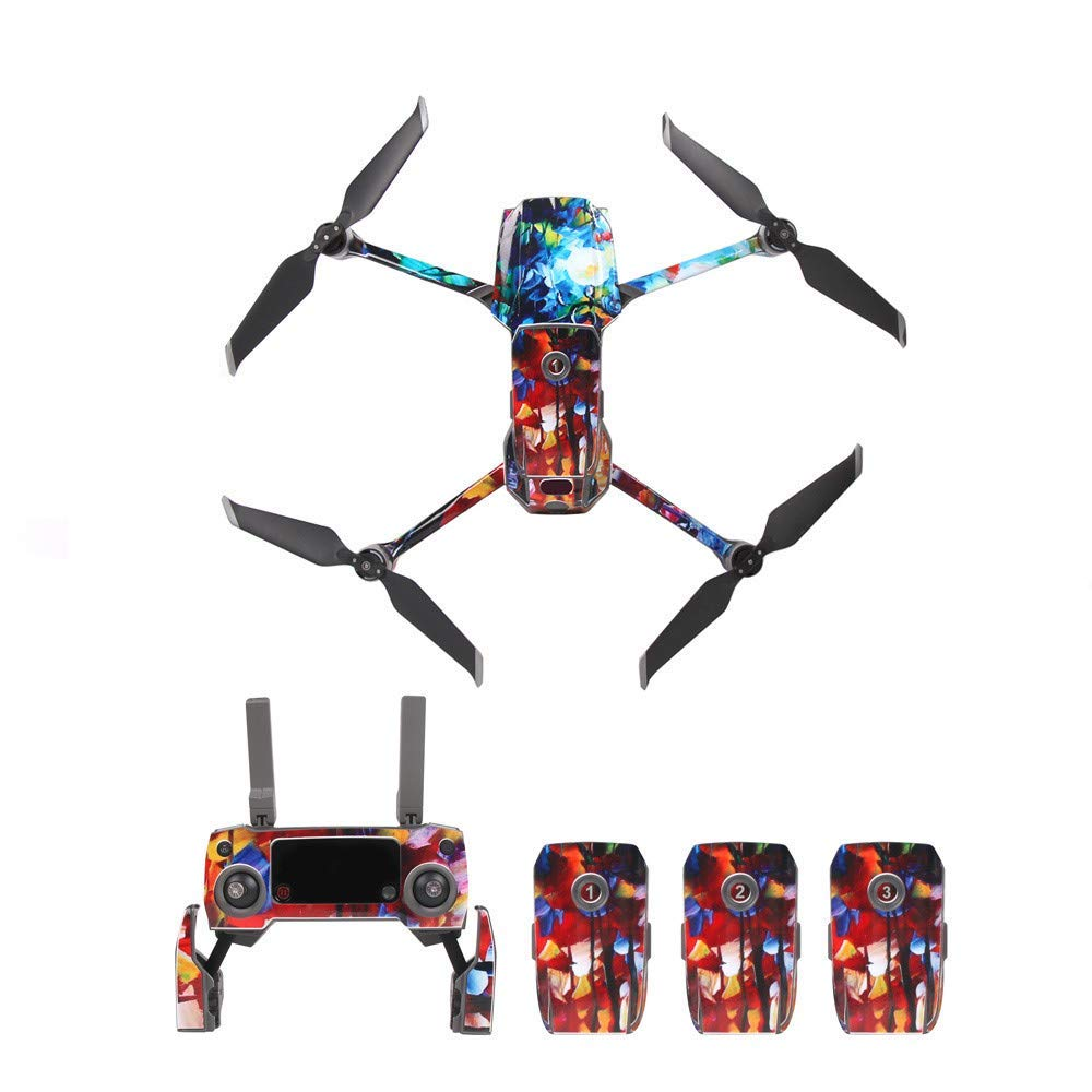 Gbell PVC Wrap Skin Decals Mavic 2 Drone Waterproof Sticker Set for DJI Mavic 2 Zoom/Pro,Full Set of Stickers - Aircraft+Arms+Batteries+Remote Controller Stickers (D)