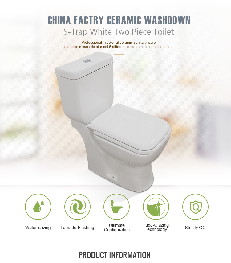 Fashionable Design S-trap Top Button White Color Ceramic Two Piece Toilet