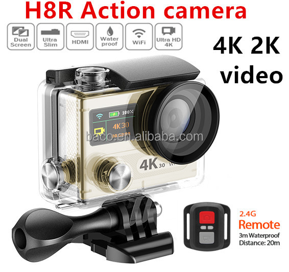 2016 new sport camera dual LCD play H8R remote action camera 4k sports hd dv
