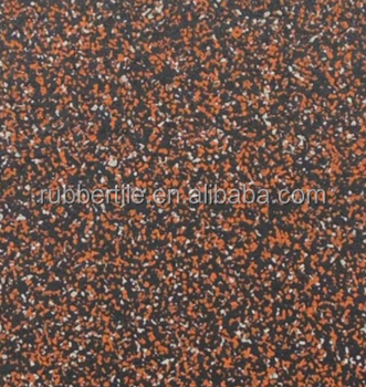 Orange Speckled Rubber Gym Flooring Tiles