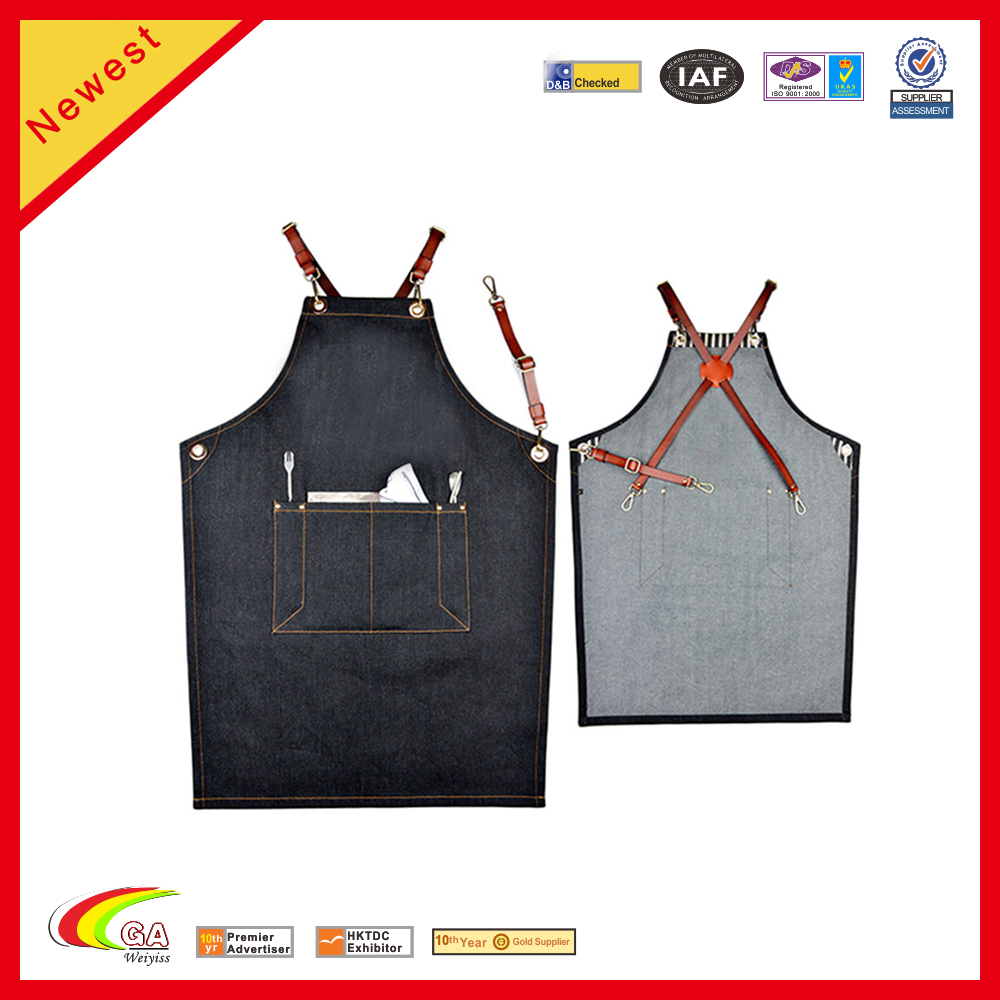black Denim Bib Apron Leather Straps Barista Florist