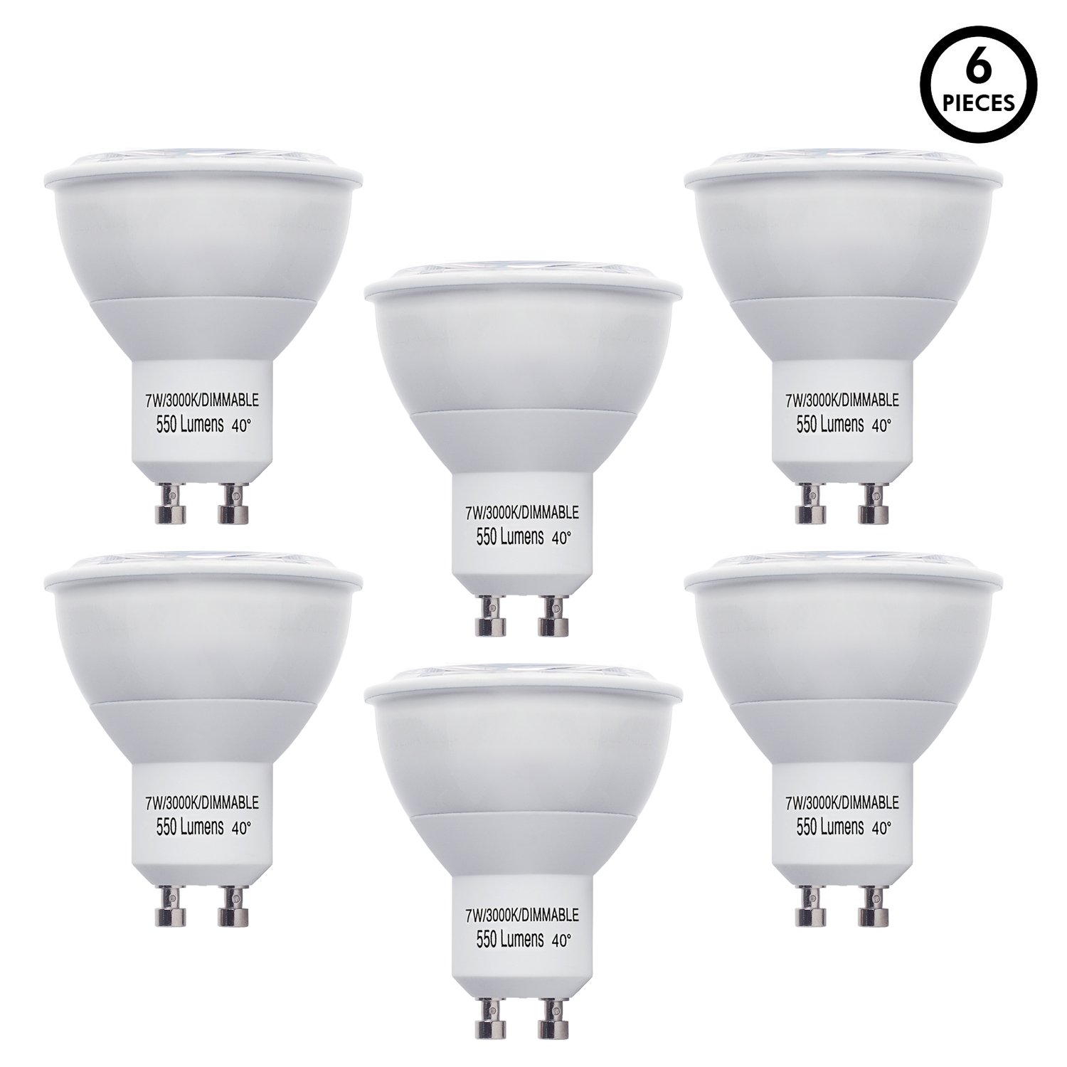 LB10561 LED GU10 MR16 40° 50W Equivalent, Dimmable 7 Watt, 3000K Soft White Light Bulbs, 550 Lumens, UL-Listed, Energy Star Certified, (6-Pack)