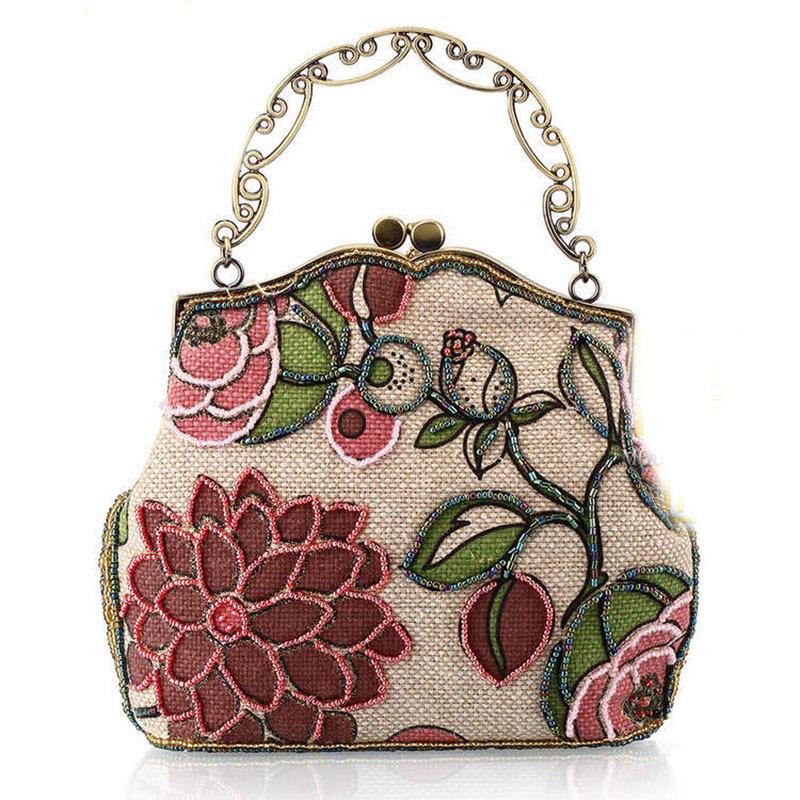 Get Quotations Women Fashion Hand Made Cotton Fabric Handbag Las Luxury Grace Embroidery Shoulder Bag Cosmetic Bridesmaid