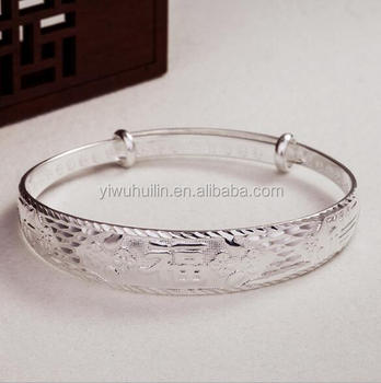 Yfy073 Yiwu Huilin Jewelry New Fashion Lady Blessing Word Bracelet Auious Flower Silver Jamaica Bangle Bracelets