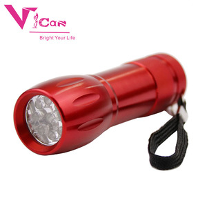 9 leds mini colorful flashlight camping battery operated torch lights