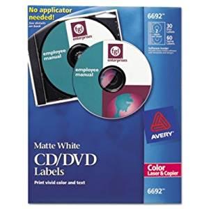 Avery CD/DVD Label - 30 / Pack - Circle - 2/Sheet - Laser, Inkjet - White