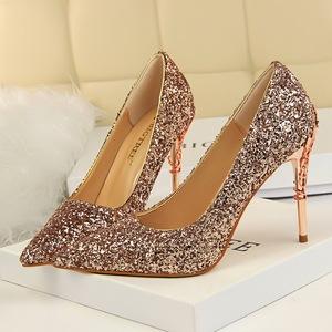 Shoes Crystal Sequins Pump Luxury Full 2019 Wedding Inserted High Heels Women SVUGzMpq