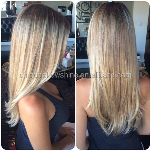 nice looking top beauty ombre blonde color brazilian human hair full lace wig