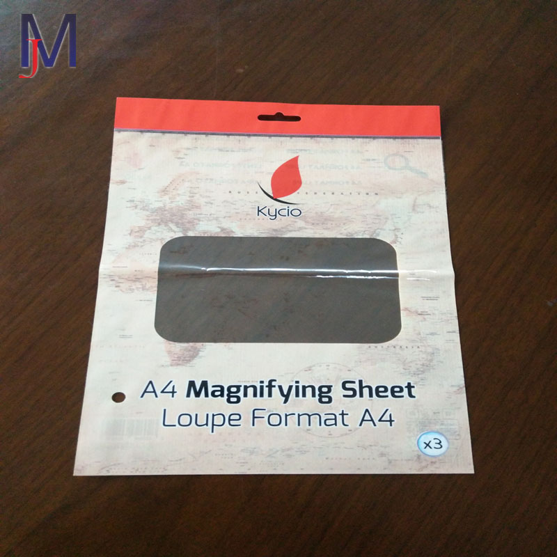 alibaba china supplier customized design magnifying sheet format A4 Header bag with self adhesive Packing pouch