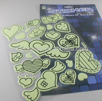 Wenzhou decoration puffy for wall night glow hearts sticker