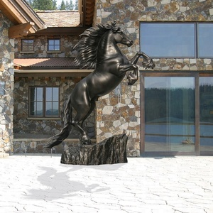 Outdoor Park famous Carving Metal Craft Animal Life Size Bronze Jump Horse Statue