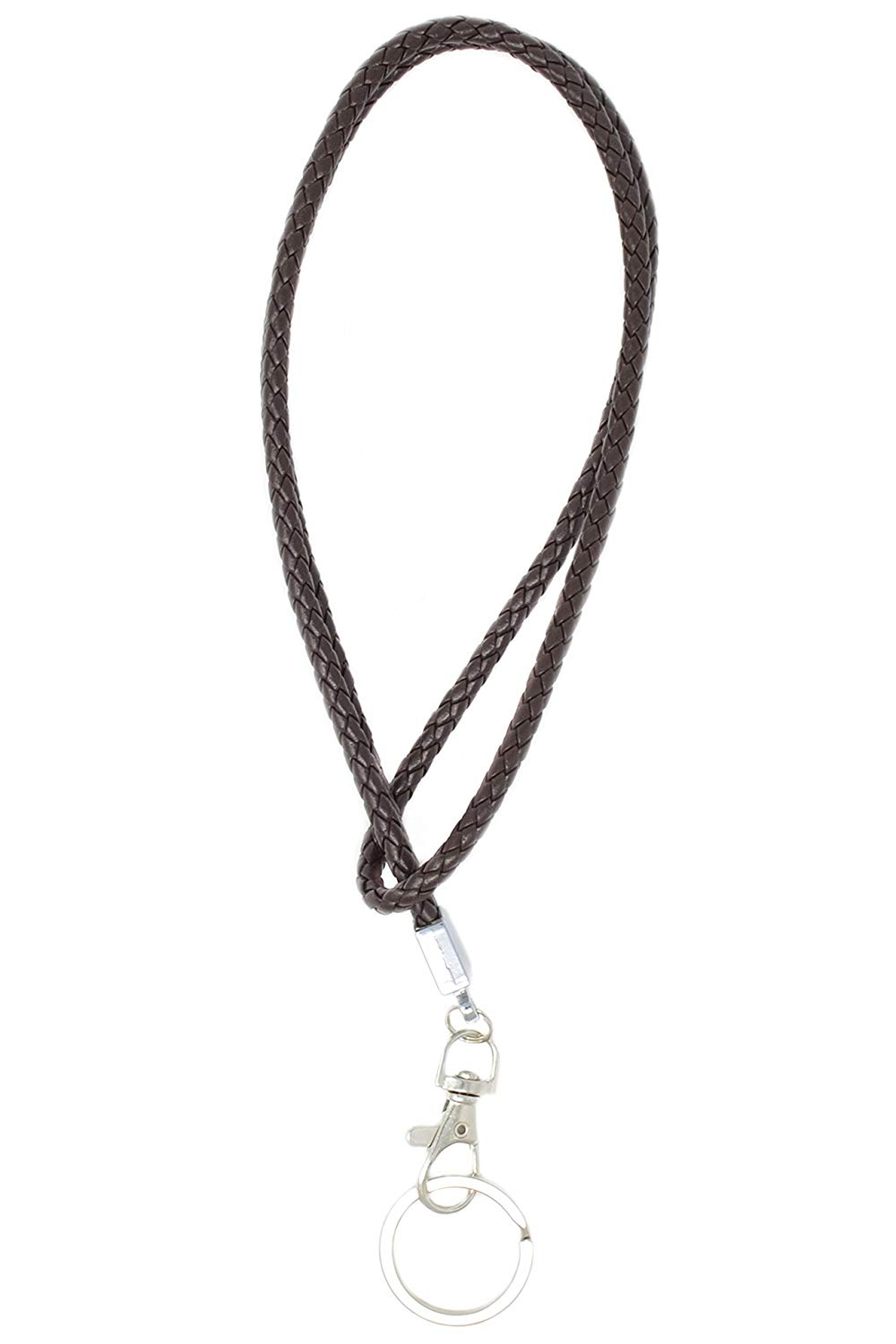 58b312ae65bfe1 Get Quotations · Braided PU Leather Necklace LANYARD with keyring and  lobster hook (Brown)
