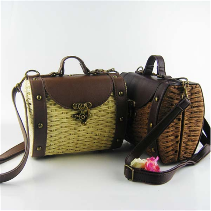 Ladies Vintage Straw Woven Bag Beach Handbag Rattan Crossbody Shoulder Bag