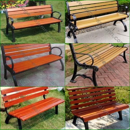 tuinbank, straat strand, bankje in het park met gietijzeren poten en hout lat antieke stoelen