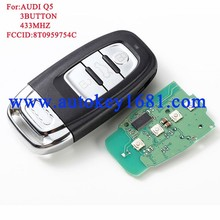 Smart Remote Key Keyless Entry 3 Button 433MHz for Audi A4L Q5 8T0 959 754C