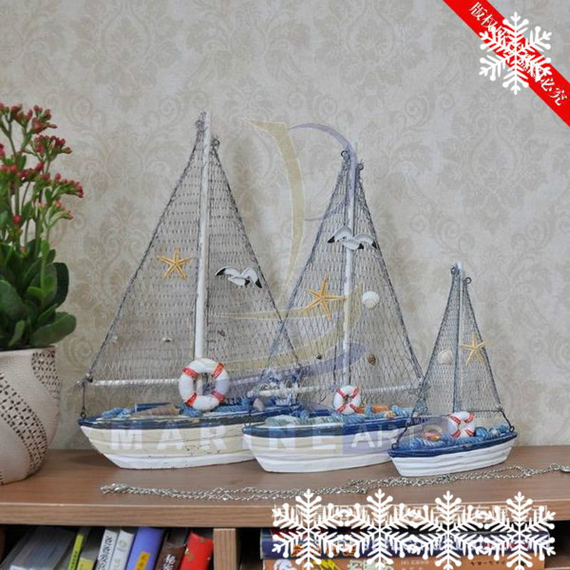 Single Sailboat Mediterranean style Wood crafts <font><b>Home</b></font> accessories small